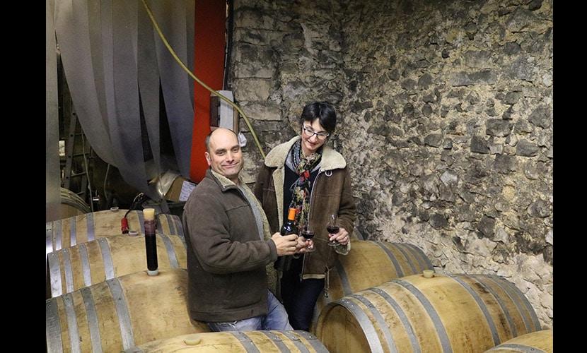ワイナリーでワインを乾杯する男性と女性